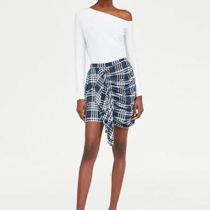 ZARA Plaid Ruched Front Blue White Mini Skirt S